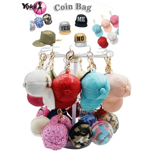 Cap Coin Purse Keyring & Bag Accessories Display(60Pcs/Display incl.Header)