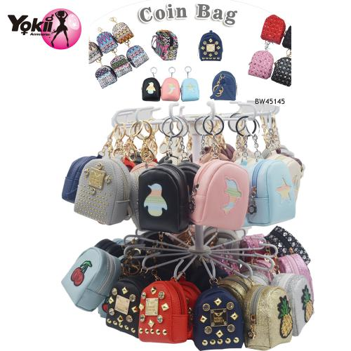 PU backpack Coin Purse Keyring & Bag Accessories Display(60Pcs/Display incl.Header)